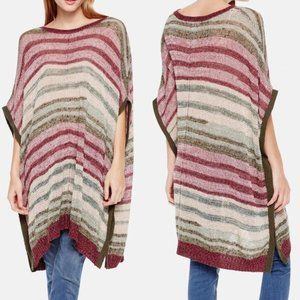 Two by Vince Camuto Striped Poncho Sweater S/M